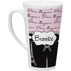 Paris Bonjour and Eiffel Tower 16 Oz Latte Mug (Personalized)