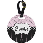 Paris Bonjour and Eiffel Tower Round Luggage Tag (Personalized)