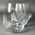 Paris Bonjour and Eiffel Tower Stemless Wine Glasses (Set of 4) (Personalized)