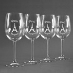 Paris Bonjour and Eiffel Tower Wine Glasses (Set of 4) (Personalized)