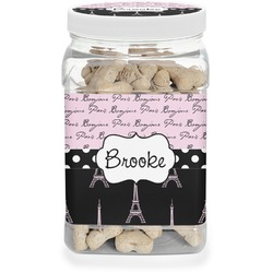 Paris Bonjour and Eiffel Tower Pet Treat Jar (Personalized)