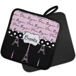Paris Bonjour and Eiffel Tower Pot Holder w/ Name or Text