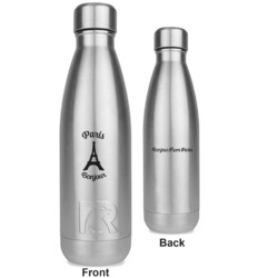 Paris Bonjour and Eiffel Tower RTIC Bottle - Silver - Engraved Front & Back (Personalized)