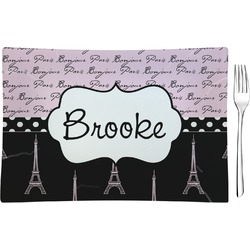 Paris Bonjour and Eiffel Tower Rectangular Glass Appetizer / Dessert Plate - Single or Set (Personalized)