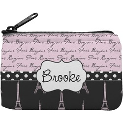 Paris Bonjour and Eiffel Tower Rectangular Coin Purse (Personalized)