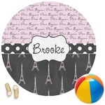 Paris Bonjour and Eiffel Tower Round Beach Towel (Personalized)
