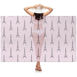 Paris Bonjour and Eiffel Tower Sheer Sarong (Personalized)