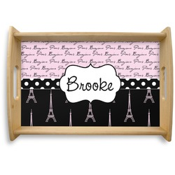 Paris Bonjour and Eiffel Tower Natural Wooden Tray (Personalized)