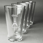 Paris Bonjour and Eiffel Tower Beer Glasses (Set of 4) (Personalized)
