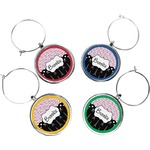 Paris Bonjour and Eiffel Tower Wine Charms (Set of 4) (Personalized)