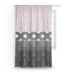 Paris Bonjour and Eiffel Tower Sheer Curtains (Personalized)