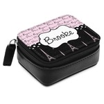 Paris Bonjour and Eiffel Tower Small Leatherette Travel Pill Case (Personalized)