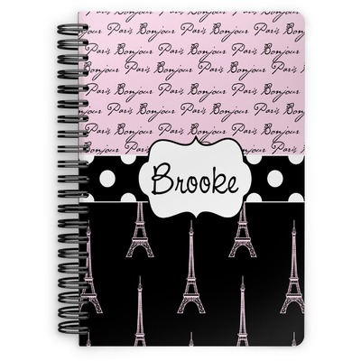 Paris Bonjour and Eiffel Tower Spiral Bound Notebook (Personalized)