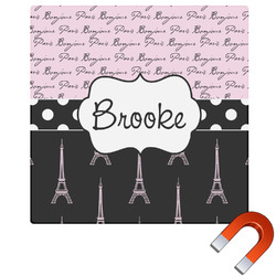 Paris Bonjour and Eiffel Tower Square Car Magnet (Personalized)