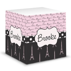Paris Bonjour and Eiffel Tower Sticky Note Cube (Personalized)