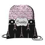 Paris Bonjour and Eiffel Tower Drawstring Backpack (Personalized)