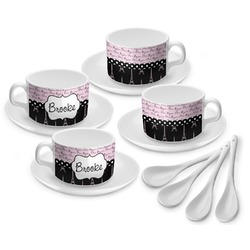 Paris Bonjour and Eiffel Tower Tea Cup - Set of 4 (Personalized)