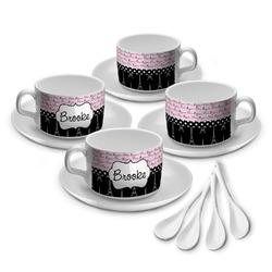 Paris Bonjour and Eiffel Tower Tea Cup - Set of 4 (Personalized)