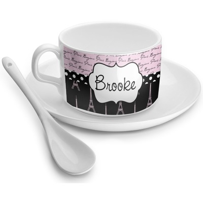 Paris Bonjour and Eiffel Tower Tea Cups (Personalized)