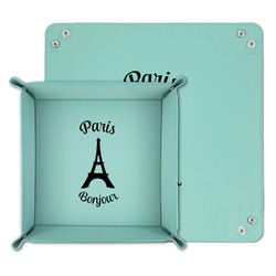 Paris Bonjour and Eiffel Tower Teal Faux Leather Valet Tray (Personalized)