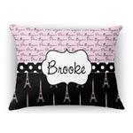 Paris Bonjour and Eiffel Tower Rectangular Throw Pillow Case (Personalized)