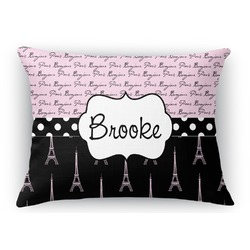 "Paris Bonjour and Eiffel Tower Rectangular Throw Pillow Case - 12""x18"" (Personalized)"