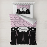 Paris Bonjour and Eiffel Tower Toddler Bedding w/ Name or Text