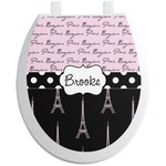 Paris Bonjour and Eiffel Tower Toilet Seat Decal (Personalized)
