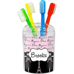 Paris Bonjour and Eiffel Tower Toothbrush Holder (Personalized)