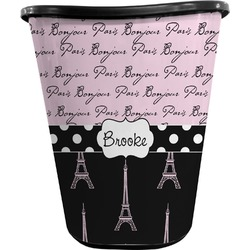 Paris Bonjour and Eiffel Tower Waste Basket - Double Sided (Black) (Personalized)