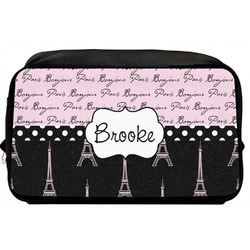 Paris Bonjour and Eiffel Tower Toiletry Bag / Dopp Kit (Personalized)