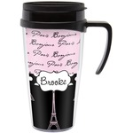 Paris Bonjour and Eiffel Tower Travel Mug with Handle (Personalized)