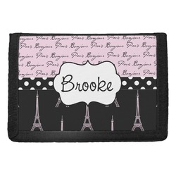 Paris Bonjour and Eiffel Tower Trifold Wallet (Personalized)