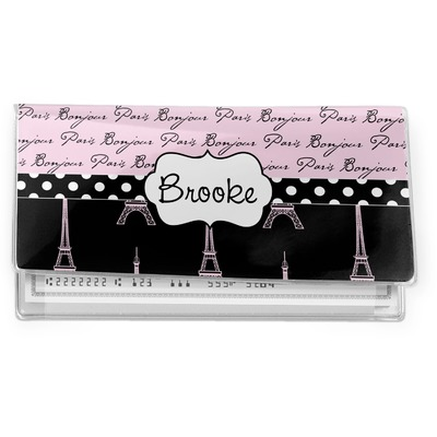 Paris Bonjour and Eiffel Tower Vinyl Checkbook Cover (Personalized)