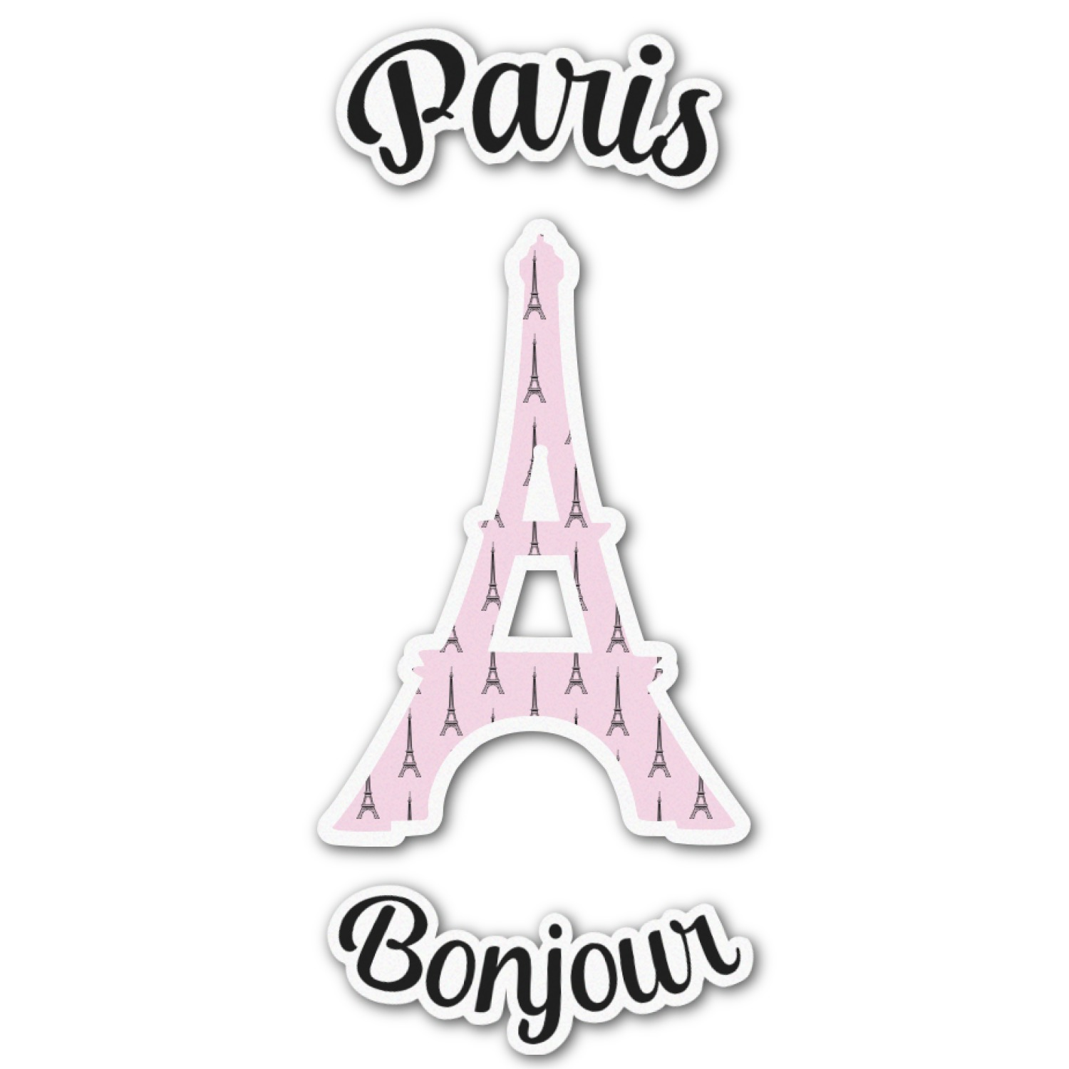 Paris Bonjour And Eiffel Tower Graphic Decal Custom