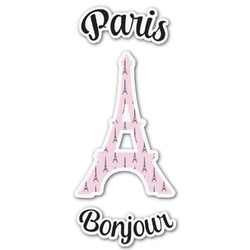 Paris Bonjour and Eiffel Tower Graphic Decal - Medium (Personalized)