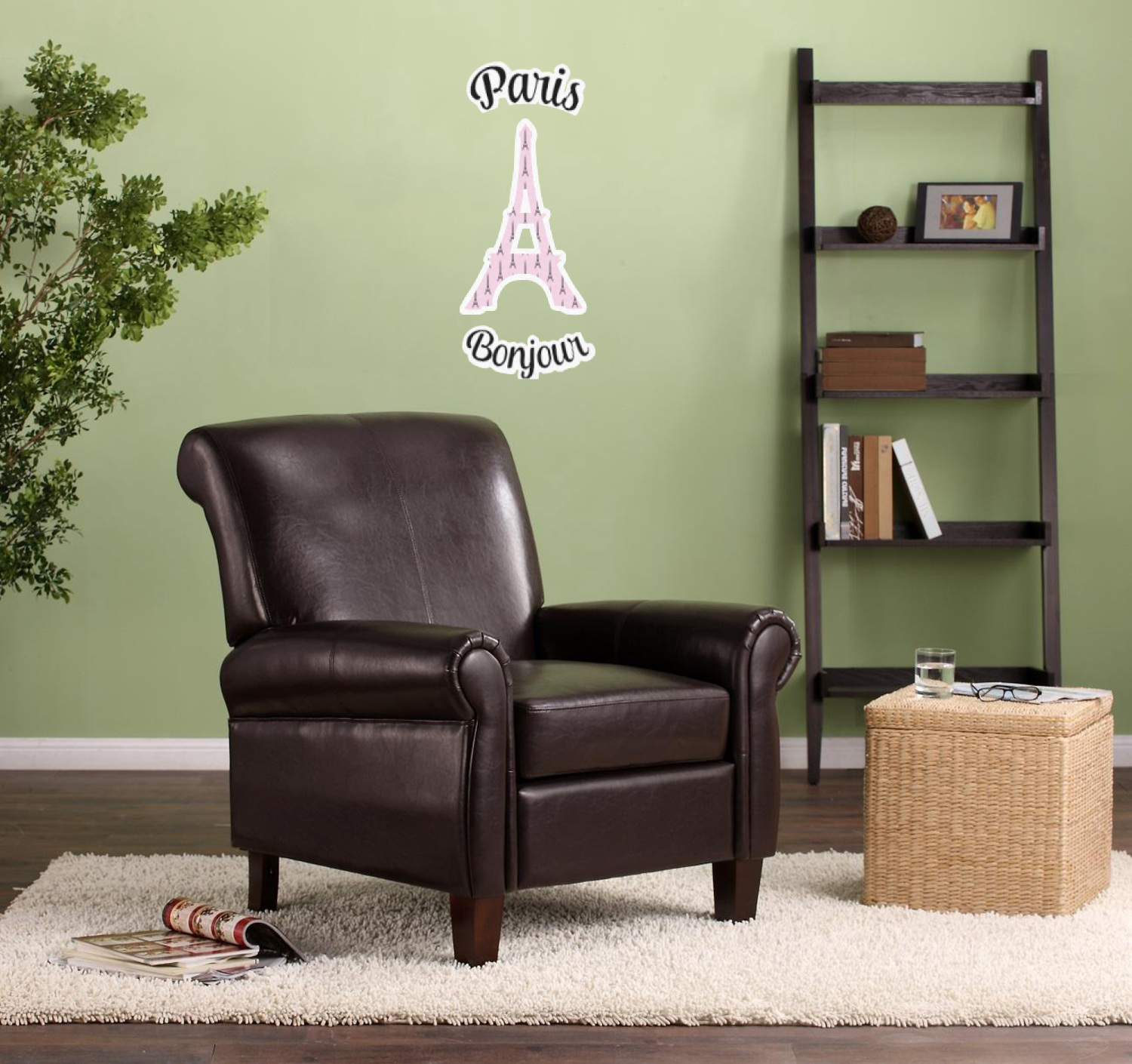 Eiffel chair living room -  Paris Bonjour And Eiffel Tower Wall Graphic On Living Room Wall