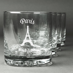 Paris Bonjour and Eiffel Tower Whiskey Glasses (Set of 4) (Personalized)
