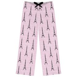 Paris Bonjour and Eiffel Tower Womens Pajama Pants (Personalized)