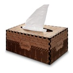 Paris Bonjour and Eiffel Tower Wooden Tissue Box Cover - Rectangle (Personalized)