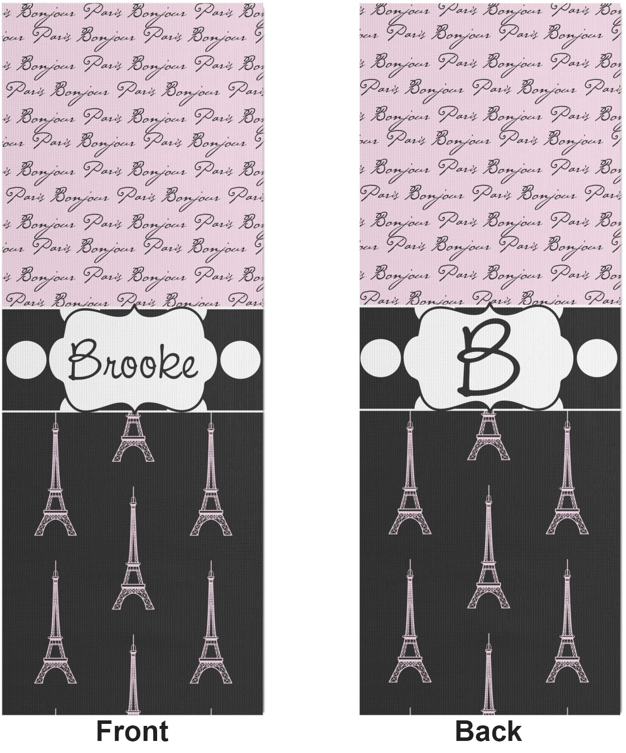 Paris Bonjour And Eiffel Tower Yoga Mat Printable Front And Back Personalized