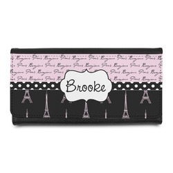 Paris Bonjour and Eiffel Tower Leatherette Ladies Wallet (Personalized)