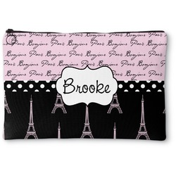 Paris Bonjour and Eiffel Tower Zipper Pouch (Personalized)