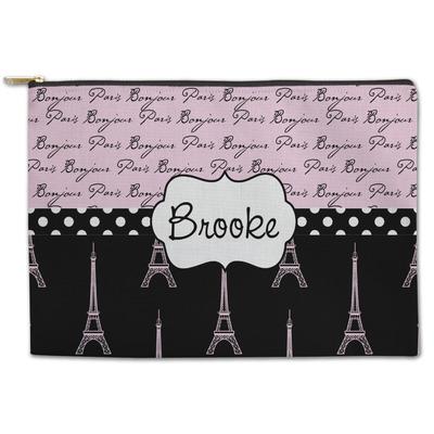 Paris Bonjour and Eiffel Tower Zipper Pouch (Personalized)