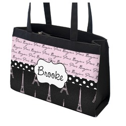 Paris Bonjour and Eiffel Tower Zippered Everyday Tote w/ Name or Text