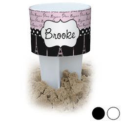 Paris Bonjour and Eiffel Tower Beach Spiker Drink Holder (Personalized)