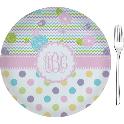 """Girly Girl 8"""" Glass Appetizer / Dessert Plates - Single or Set (Personalized)"""