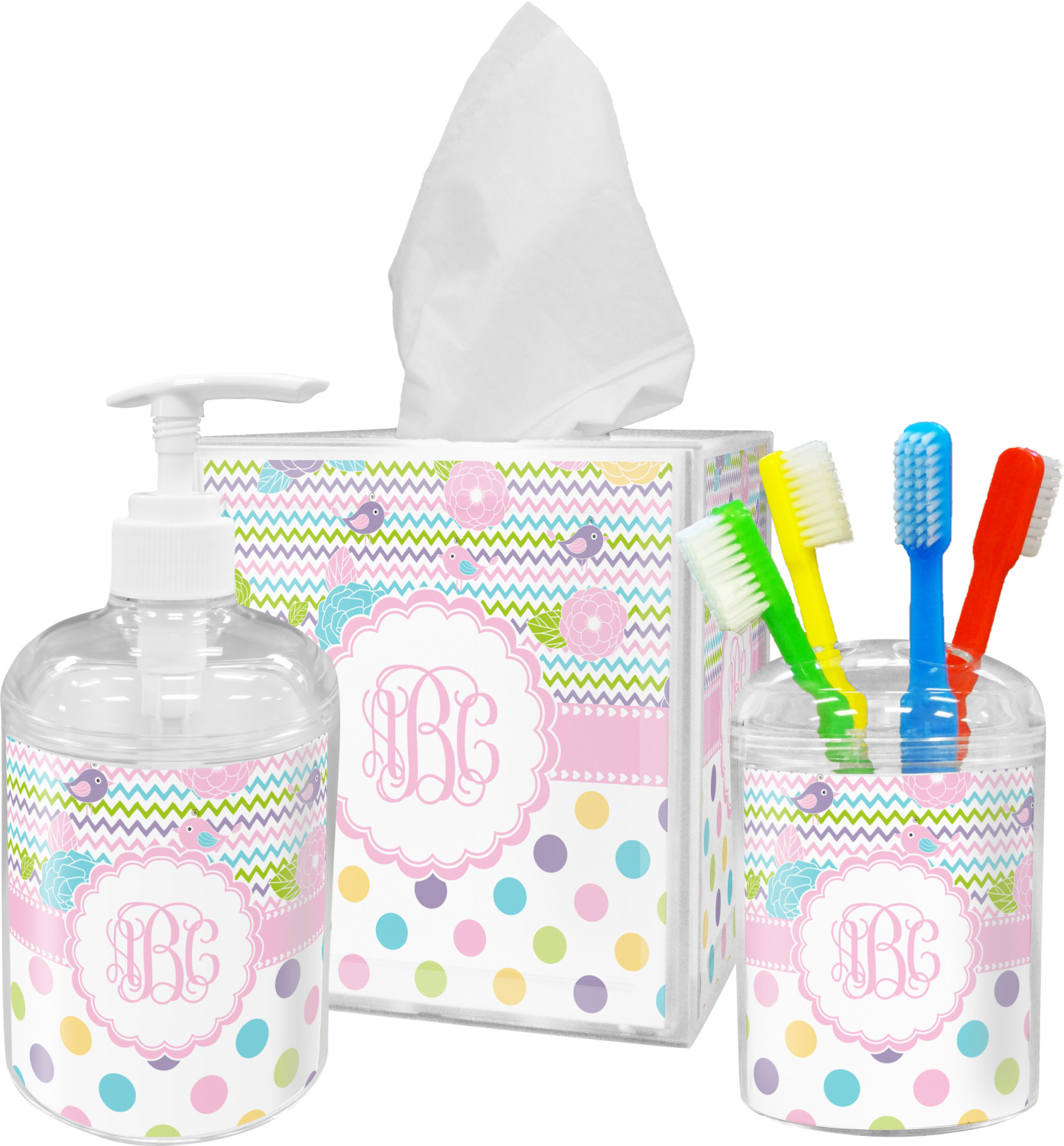 Girly Girl Bathroom Accessories Set Personalized You