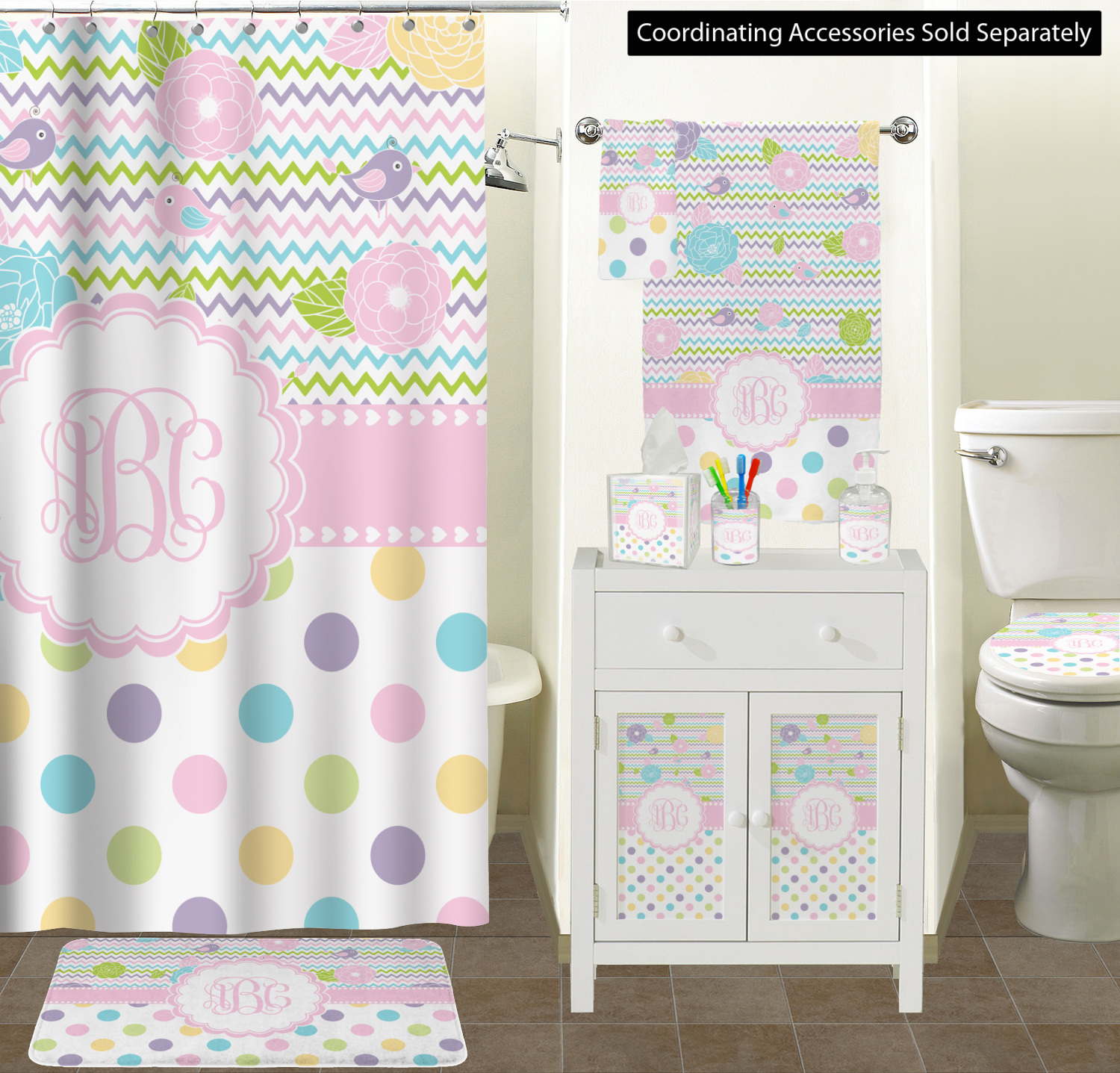 Girly girl bathroom accessories set personalized - Monogrammed bathroom accessories ...