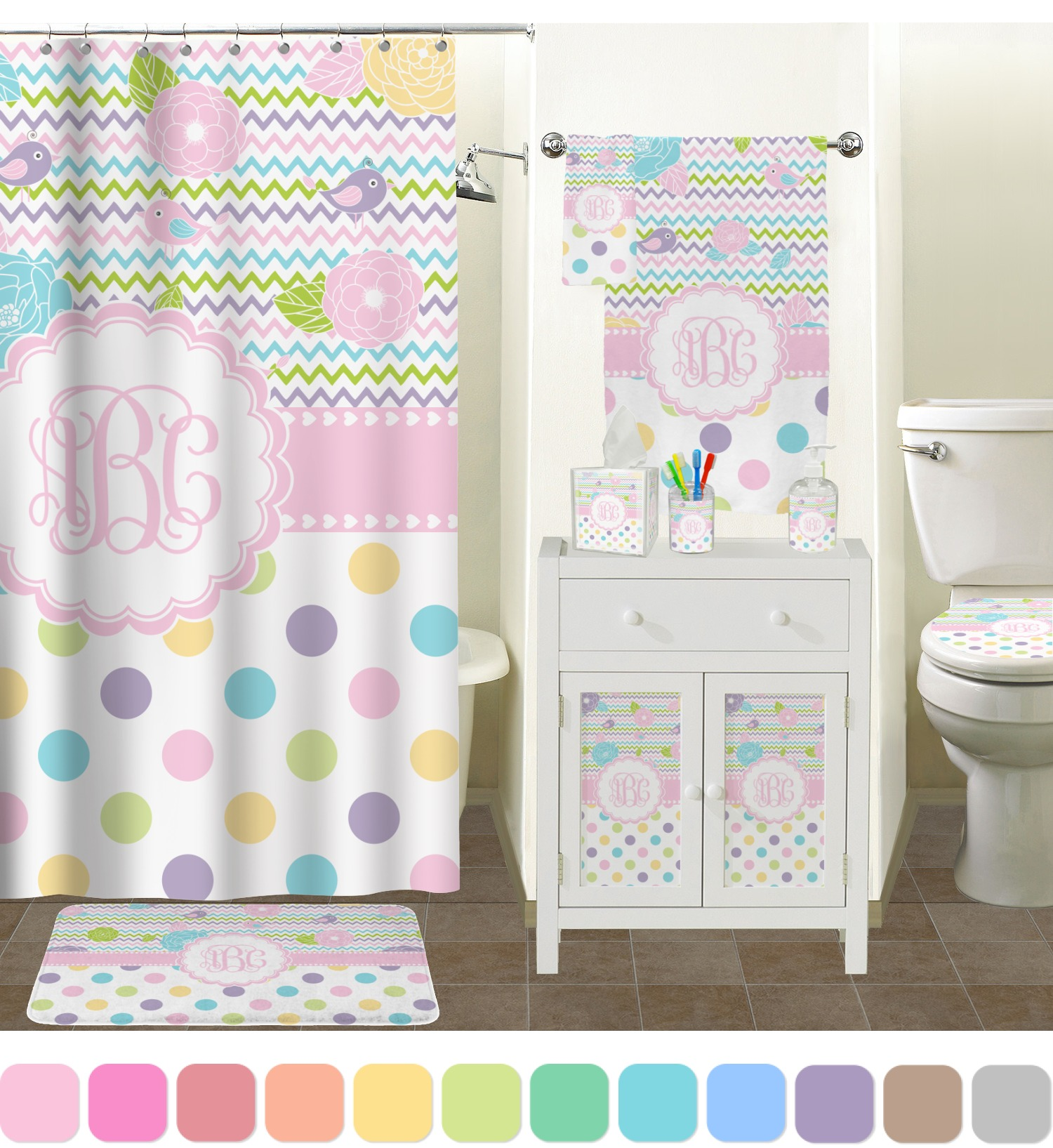Girly Bathroom Decor: Girly Girl Shower Curtain (Personalized)